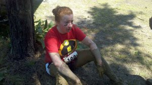 "After my first 5K mud run - exhausted, but one of my proudest ""fitness moments""."
