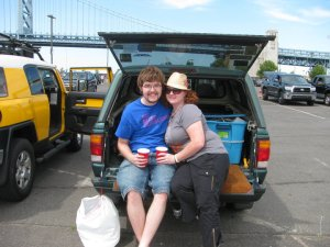 My husband (then boyfriend) and I at 205lbs, in 2010.